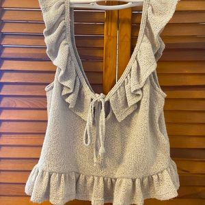 UO Frilly Knit Crop Top